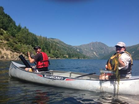 Staff from SCNWCP and Mt St Helens Institute survey Coldwater Lake for aquatic species