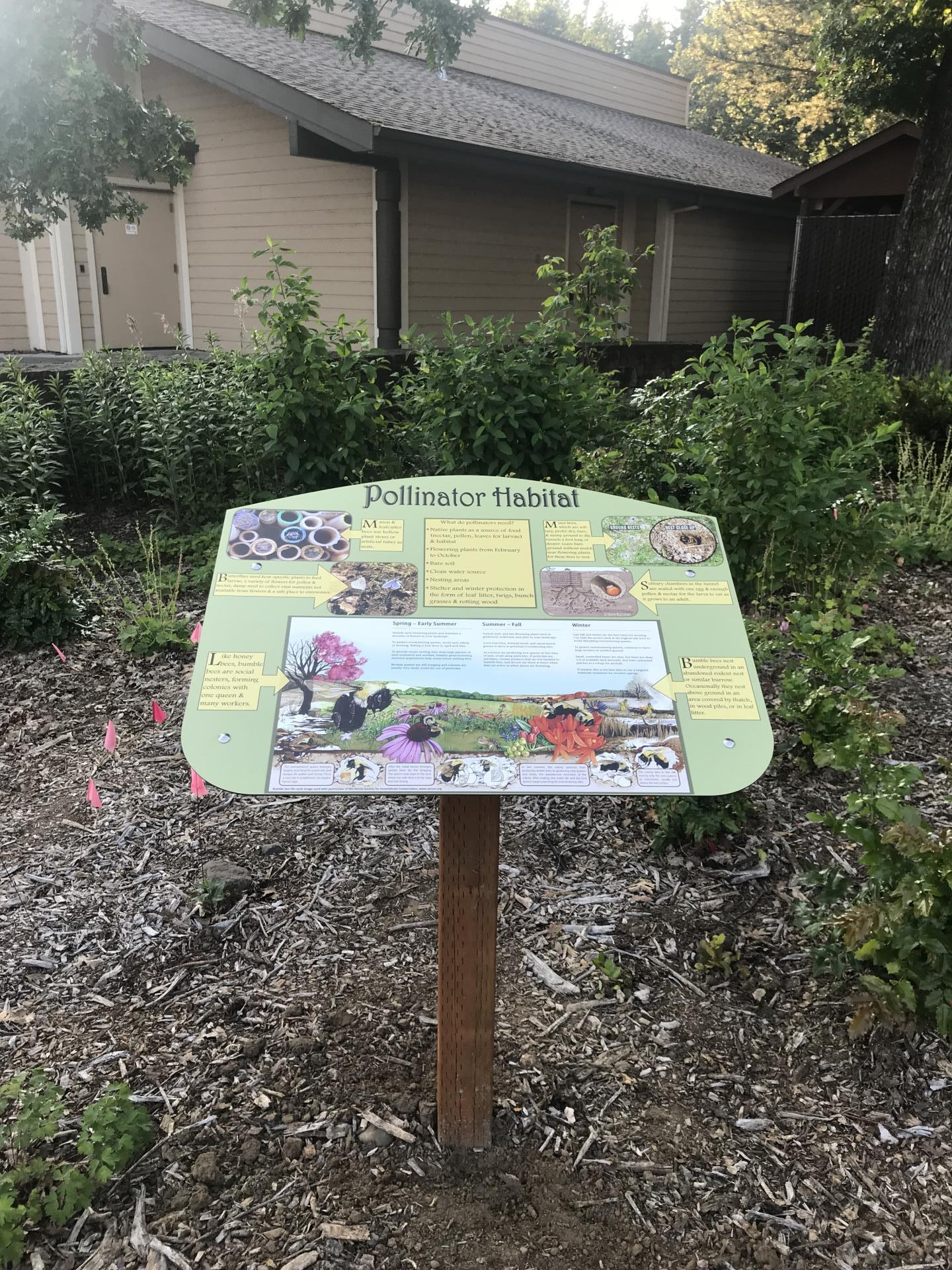 pollinator habitat interp sign in garden